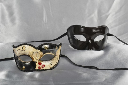 sweetheart masquerade masks for couples in black