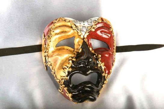 Tragedia Musica Black - Harlequin Style Tragic Crying Sad Drama Masks