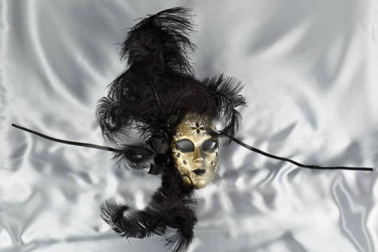 Black feather wall mask
