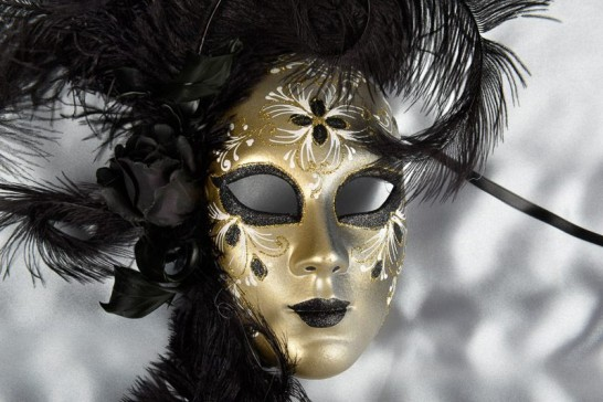 Black feather wall mask - close up detail