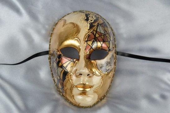 black full face mask with scenes of Venice