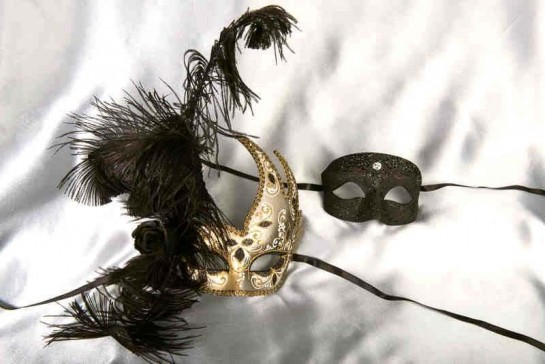 Black and Gold His and Hers couples masquerade masks Cigno Tomboy
