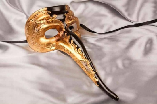 Black Venetian Long Nose Masks with Gold Leaf