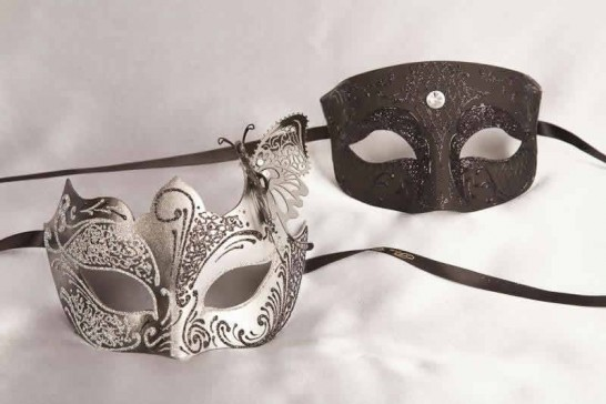 Pair of black and silver masquerade masks with butterfly | Tomboy Teresa