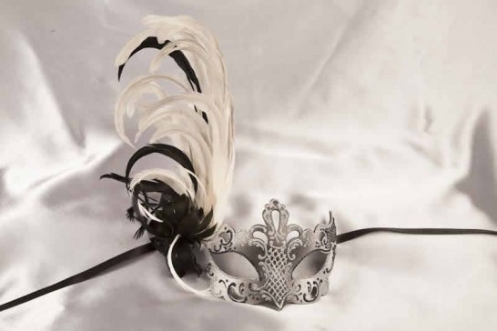 Paper Mache Venetian Mask with feathers in black and silver