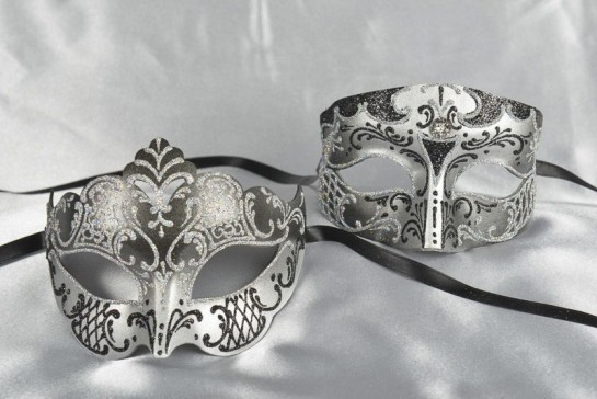Black and Silver matching Venetian masks - Tomboy Giglio