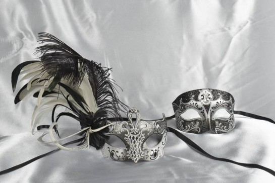 Black Venetian masks for Couples - Tomboy Vanity Silver