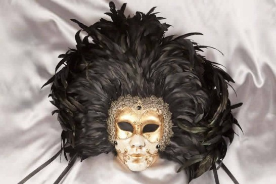 Volto Piuma Piena - Antiqued Face Gold Mask and Black Feathers Wall Mask