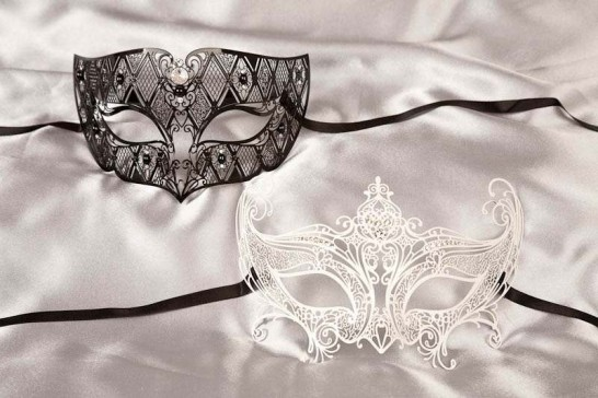 black white filigree Venetian masks Tomboy Principessa