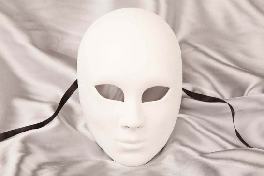 Blank white undecorated full face Volto mask