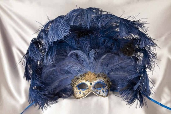Full feathered Rio carnival mask for Venetian ball in gold and blue