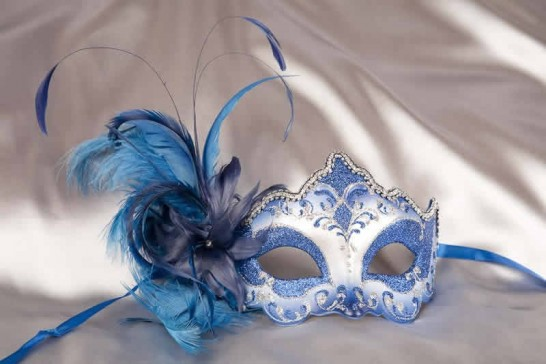 side feather masquerade mask in blue