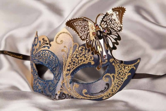blue gold butterfly ball mask