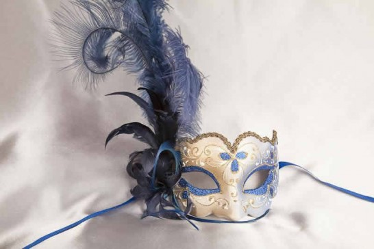 Blue and gold feathered mask