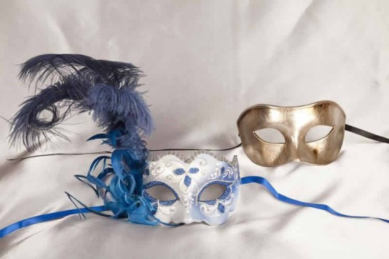 couples blue and silver masks