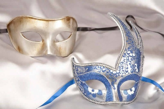 blue silver ball masks for couple