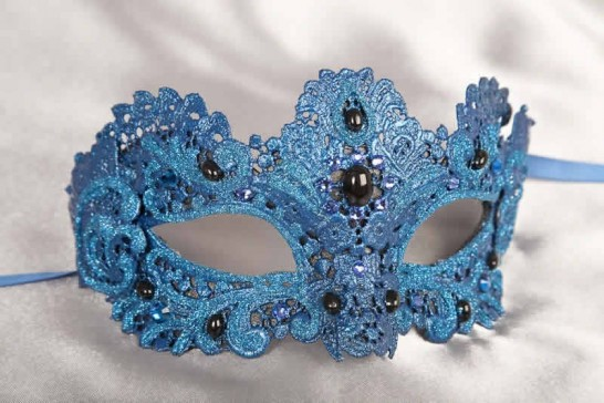 Blue Macrame - Ladies Luxury Lace Mask with Gems and Crystals