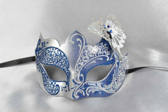blue silver butterfly ball mask