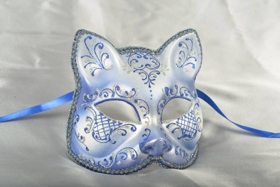 Blue and Silver Cat Mask for Animal Masquerading