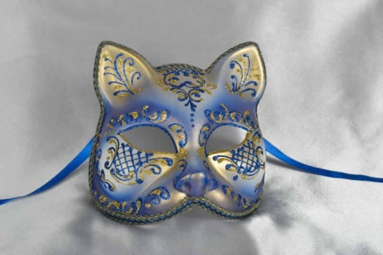 Blue gold Cat shaped masquerade mask