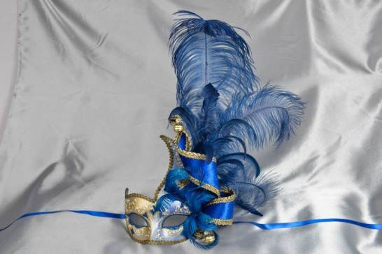 Cigno Armony Silver Venetian Jester Masks with feathers in blue