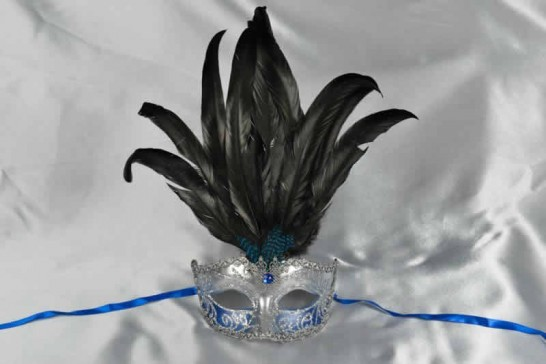 Blue womens feathered mask