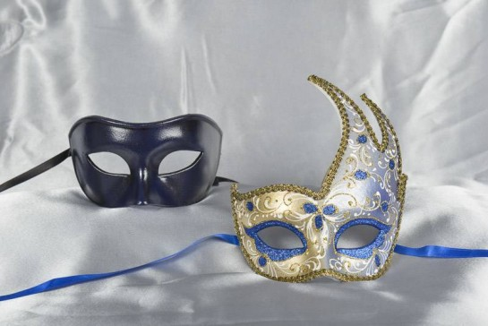 Couples masquerade masks in blue and gold