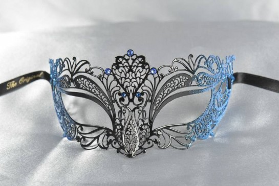 Filigree metal lace ball mask in black and blue