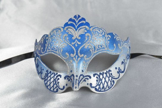 Tiara shaped masquerade mask in silver and blue