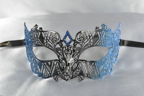 masquerade ball mask laser cut lace in blue
