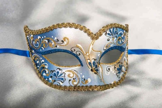 blue and gold carnival mask