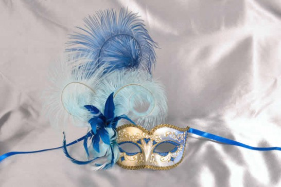 Ladies feathered ball mask - blue