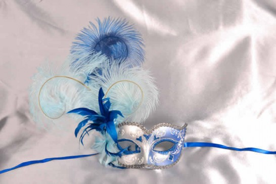 blue and turquoise feathered mask