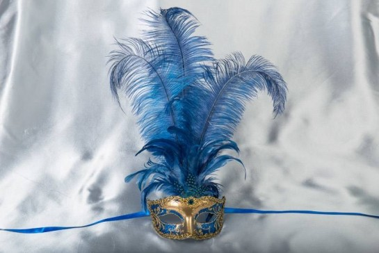 Luxury tall feather masquerade mask in blue and gold