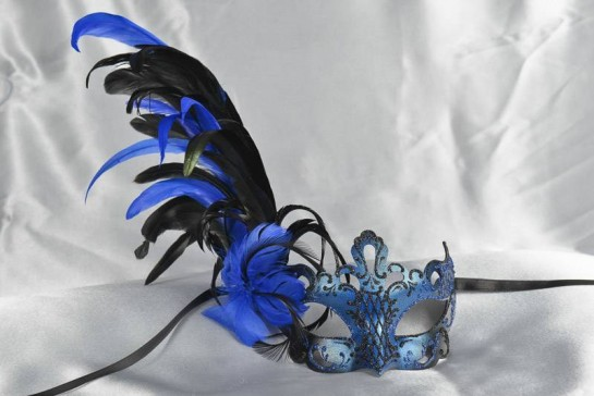 Luxury feather Venetian masquerade mask in black and blue