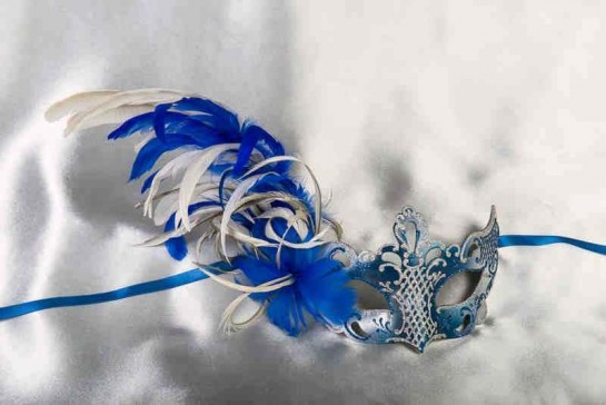 Luxury side feather Venetian masquerade mask in blue