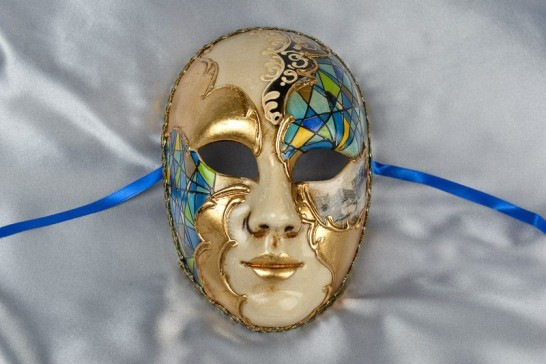 blue full face mask with scenes of Venice
