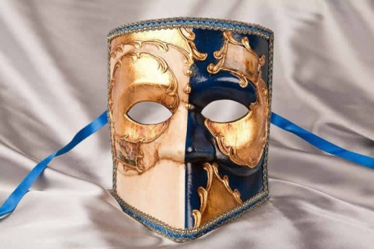Blue and gold Bauta Masked Theatre Masks with Venice Scenes