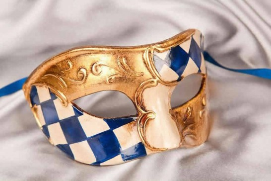 blue and gold Checkered Diamond Detail Masquerade Masks