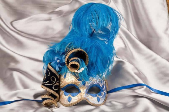 Blue and gold trim Venetian jolly mask with feathers and jester bells