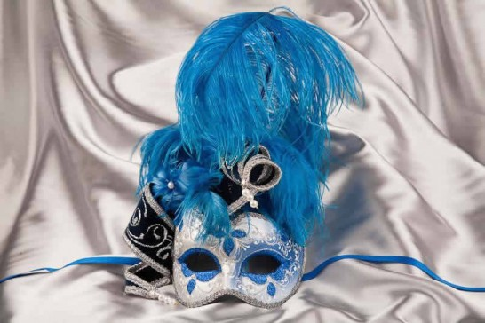 Blue and silver trim Venetian jolly mask with feathers and jester bells