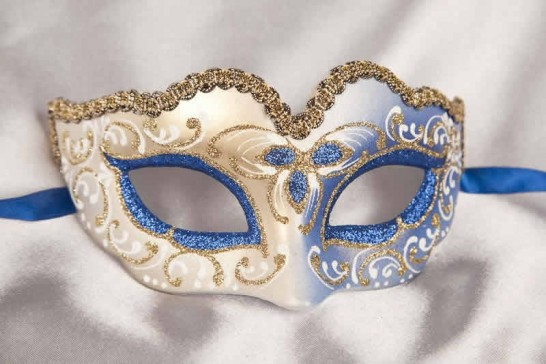 Blue Baby Fiore Gold - Small Carnival Masks