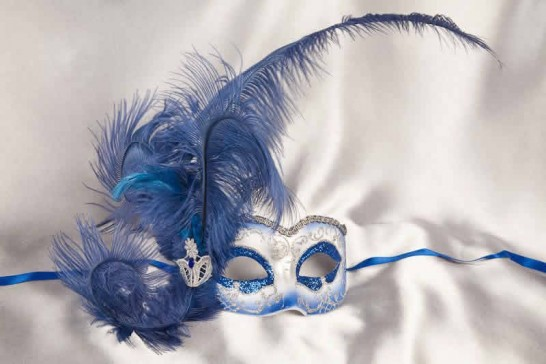 blue Side feather mask - Semplice silver