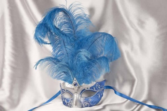 Blue Struzzo Silver - Ladies Ball Mask with Centre Feathers