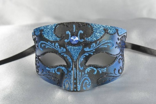 Black and blue masculine Venetian mask - Tomboy Blue