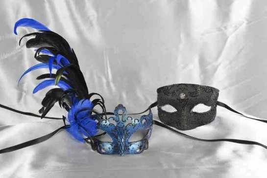 Black and blue matching Venetian masks with feathers - Tomboy Vanity