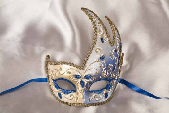 Blue Cigno Fiore Gold - Swan Shaped Carnival Masks