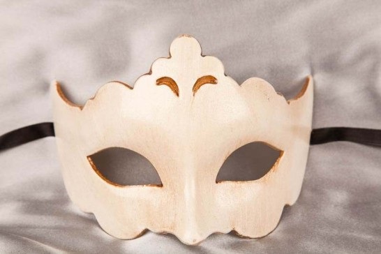 Plain and simple carnival masquerade mask in cream