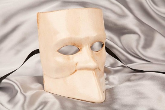 One colour Venetian Bauta Mask in cream