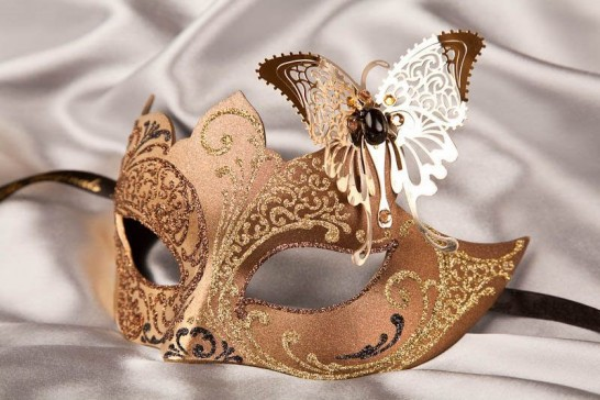Brown Teresa Gold - Womens Eye Masks with Filigree Metal Butterfly